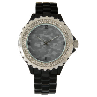 Show Strass alloy of black enamel Gray Camouflage Wristwatches