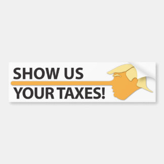 Show Us Your Taxes (on white) Bumper Sticker