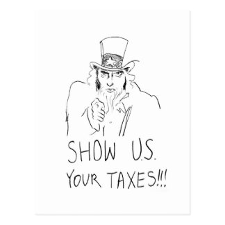 Show US Your Taxes Postcard