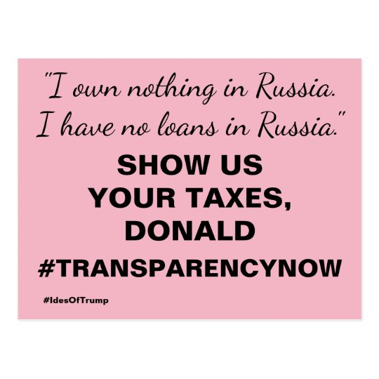 Show Us Your Taxes Trump Resistance Postcard