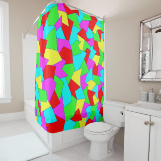 Shower curtain abstractly in multicolored