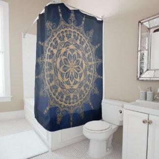 Shower Curtain Blue Golden Mandala Design
