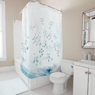 Shower curtain blue starfish