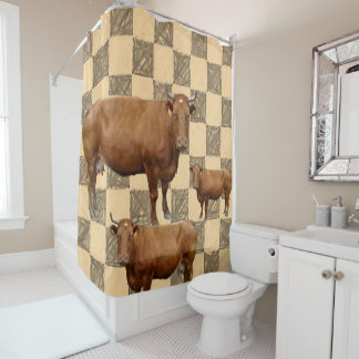 Shower curtain cows