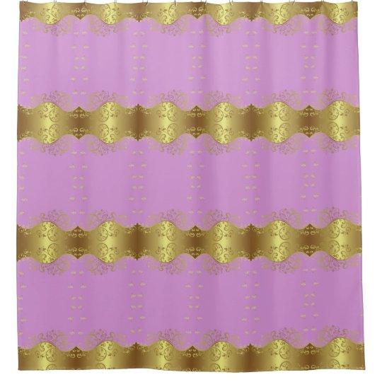 Shower Curtain--Gold Swirls & Pink