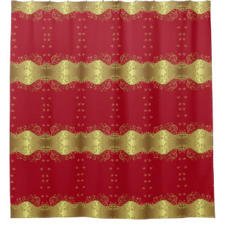 Shower Curtain--Gold Swirls & Red