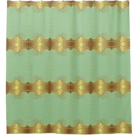 Shower Curtain--Gold Swirls & Seafoam