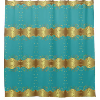 Shower Curtain--Gold Swirls & Teal
