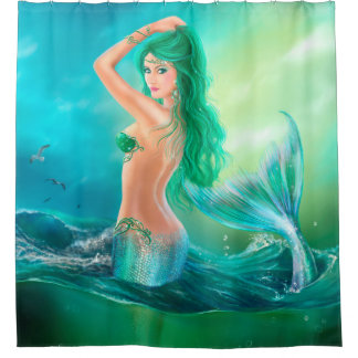 Shower Curtain, mermaid fantasy at ocean on waves