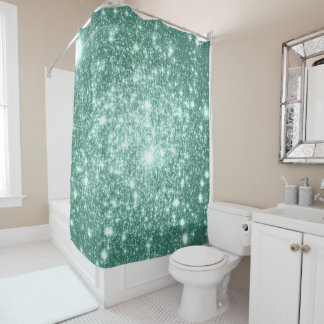 Shower Curtain Pale Mint Astral Glitter