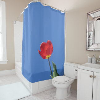 Shower Curtain - Red Tulip Blue Sky 2