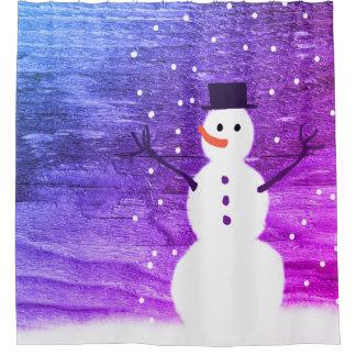 shower curtain rustic Christmas snowman purple