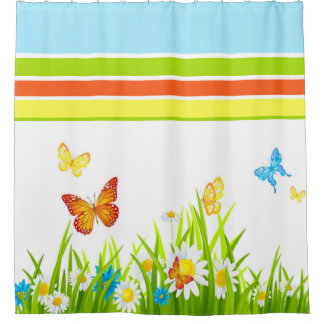 Shower Curtain/Spring Butterflies and Flowers