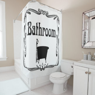 Shower curtain vintage bathroom tub black white
