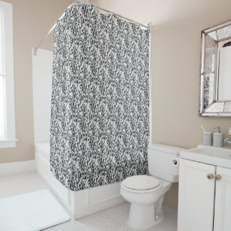 Shower curtain with black-and-white fantasy