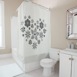 Shower curtain with flowers in black-and-white