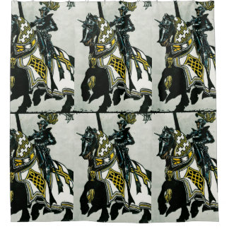 Shower curtain with 'Knight On Horseback' image