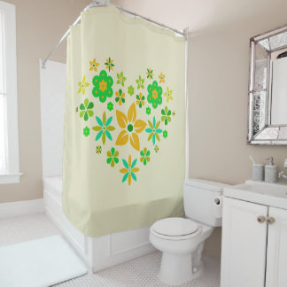 Shower curtain with merry flowers in heart form