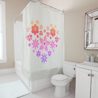 Shower curtain with multicolored flowers in heart