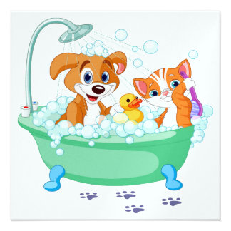 Shower/ Cute Cat and Dog Invitation