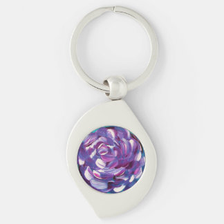 Shower Me With Flowers Silver-Colored Swirl Keychain