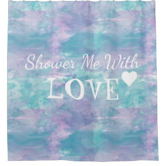 Shower me With Love, Watercolor Purple Text Design