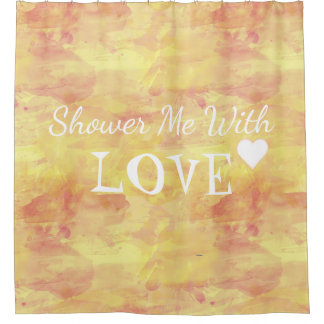 Shower me With Love, Watercolor Yellow Text Design