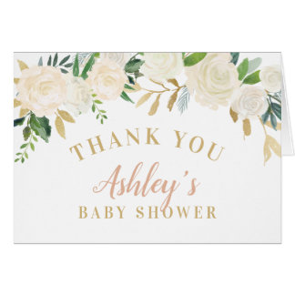 Shower Thank You Cards   Neutral Watercolor Blooms