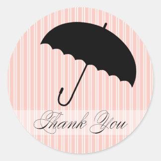 Shower Thank You Pink Umbrella Sticker