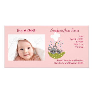Showering Mice Baby Photo Cards