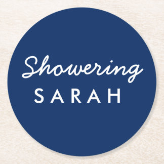 Showering the Mom-to-Be Baby Shower Coaster Navy