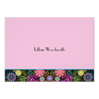 """Showers of Brightness Pink Personalized Notecard 4.5"""" X 6.25"""" Invitation Card"""