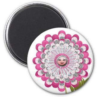 Showgirl flower 2 inch round magnet