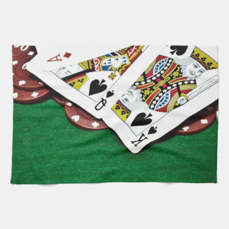 Showing cards green table poker kitchen towel