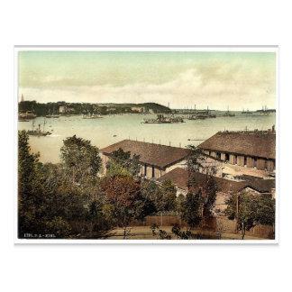 Showing war ships, the harbor, Kiel, Schleswig-Hol Postcard