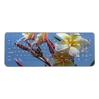 Showy Plumeria Frangipani Blooms Wireless Keyboard