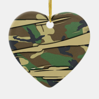 Shredded Camo Heart Ceramic Ornament