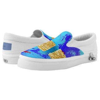 Shredded Wheat on Blue Slip On Sneakers