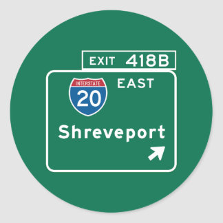 Shreveport, LA Road Sign Classic Round Sticker