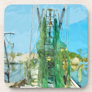 Shrimp Boat Docked Abstract Impressionism Drink Coasters