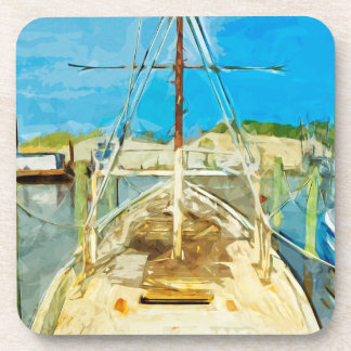Shrimp Boat Under Repair Abstract Impressionism Coasters