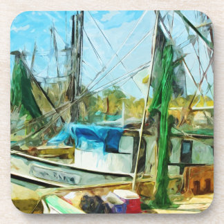 SHRIMP BOATS DOCKED Abstract Impressionist.jpg Beverage Coaster