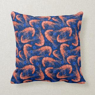 Shrimp Prawn Coral Ocean Bubbles Coastal Navy Blue Throw Pillow