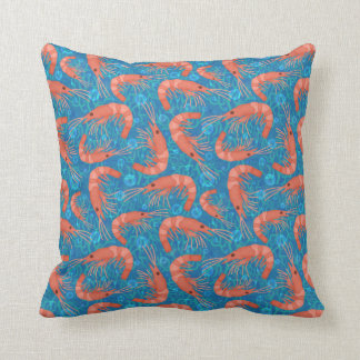 Shrimp Prawn Coral Ocean Bubbles Coastal Sea Blue Throw Pillow