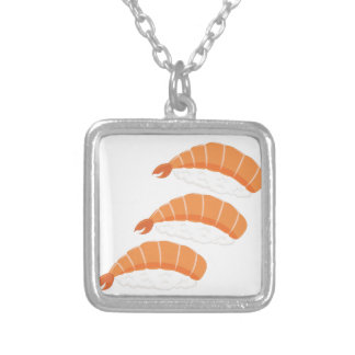 Shrimp Sushi Silver Plated Necklace
