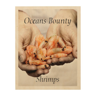 Shrimps Photography with Customisable Text Wood Print