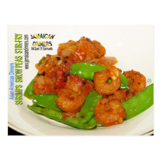 Shrimps Snow Peas Stirfry Postcard