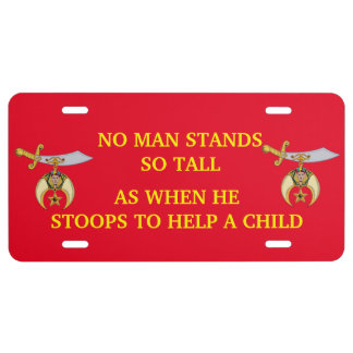 SHRINERS CUSTOM LICENSE PLATE ALUMINUM or PLASTIC