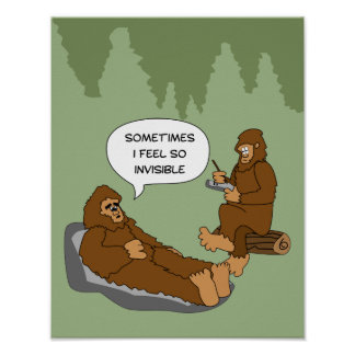 Shrink's Office Funny Sasquatch Cartoon Custom Poster