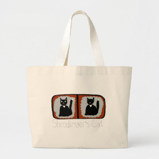 Shrodinger Cat Science Cartoon Large Tote Bag